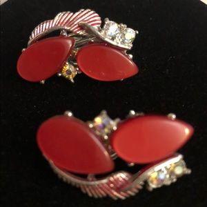 Red Vintage Clip On Earrings